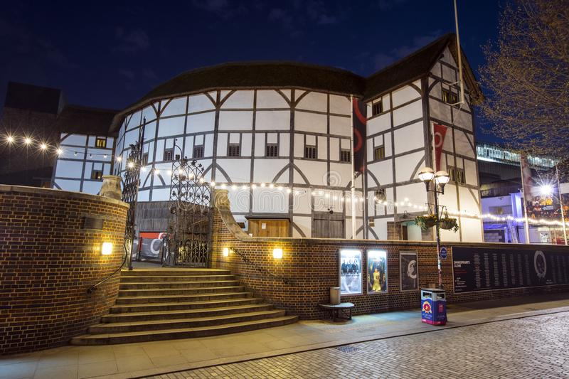 Shakespeares Globe Theatre in London. London, UK - April 1st 2019: A view of the reconstruction of the historic Globe Theatre - an Elizabethan playhouse royalty free stock photo