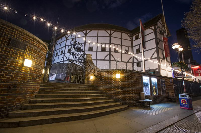Shakespeares Globe Theatre in London. London, UK - April 1st 2019: A view of the reconstruction of the historic Globe Theatre - an Elizabethan playhouse stock photo