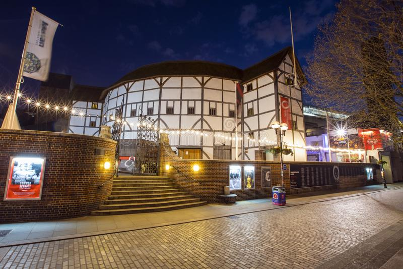 Shakespeares Globe Theatre in London. London, UK - April 1st 2019: A view of the reconstruction of the historic Globe Theatre - an Elizabethan playhouse royalty free stock image