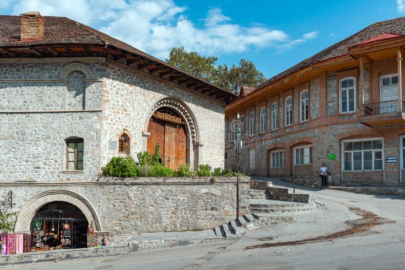 Ancient caravanserai in the old town. Shaki, Azerbaijan  August 24, 2019 Ancient caravanserai in the old town royalty free stock image