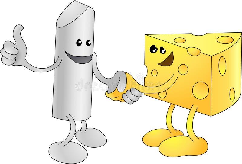 Shaki de craie et de fromage heureusement illustration de vecteur