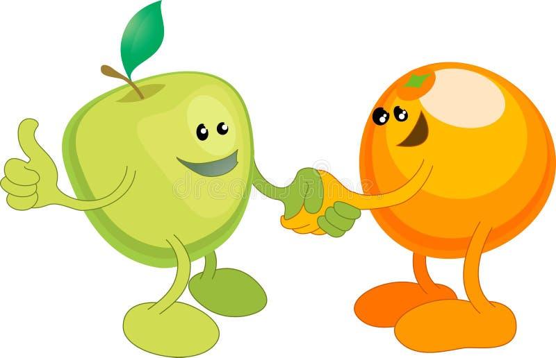 Shaki dell'arancio e del Apple felicemente illustrazione di stock