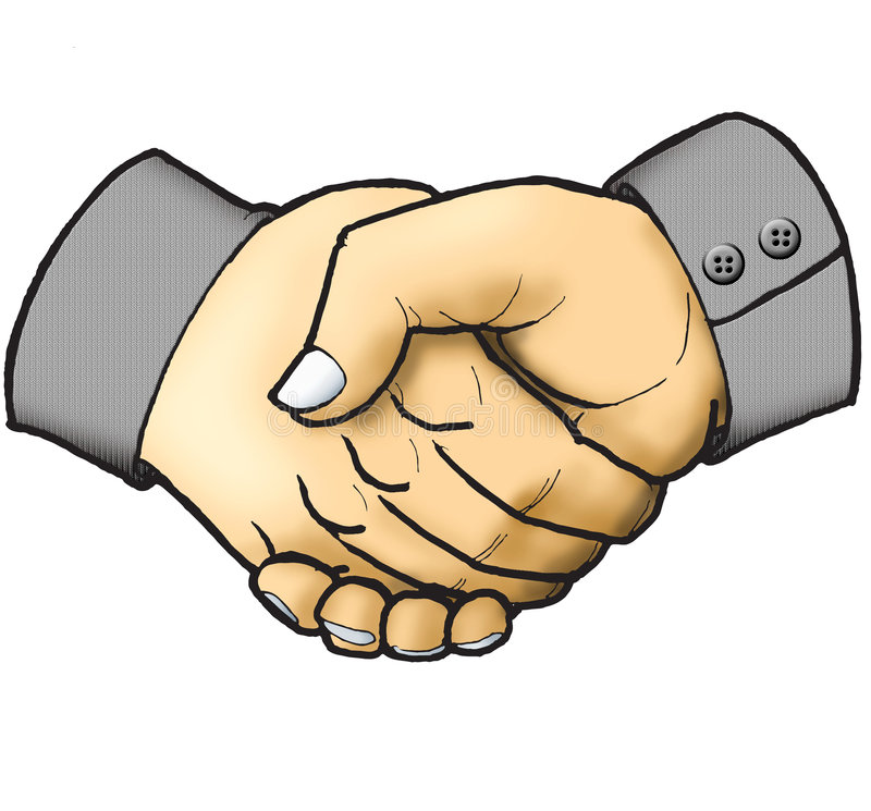 Shaking hand. Business deal, agreement between two businessman by shaking hand each other stock illustration