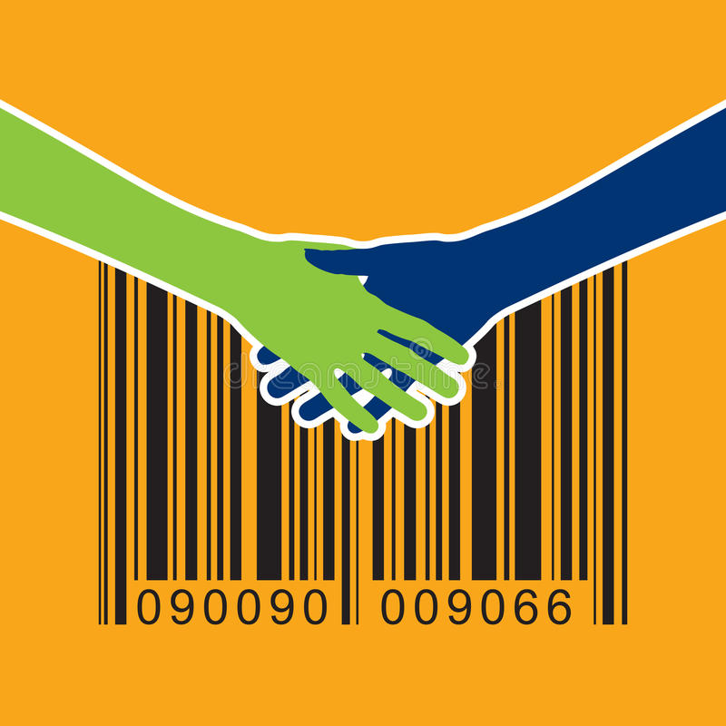 Shaking hand with bar-code. Bar-code with shaking hand on yellow background vector illustration