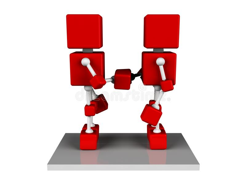 Shaking hand. Illustration of two 3d character red cube shaking hand stock illustration