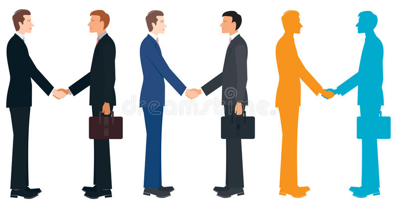 Shaking Hands. An illustration of different businessmen shaking hands, isolated on white background royalty free illustration