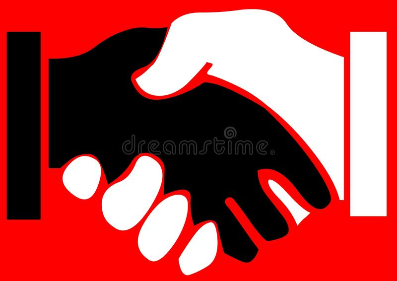 Black hand shakes white. Illustration of racial harmony with black hand clasping (shaking) white, red background vector illustration