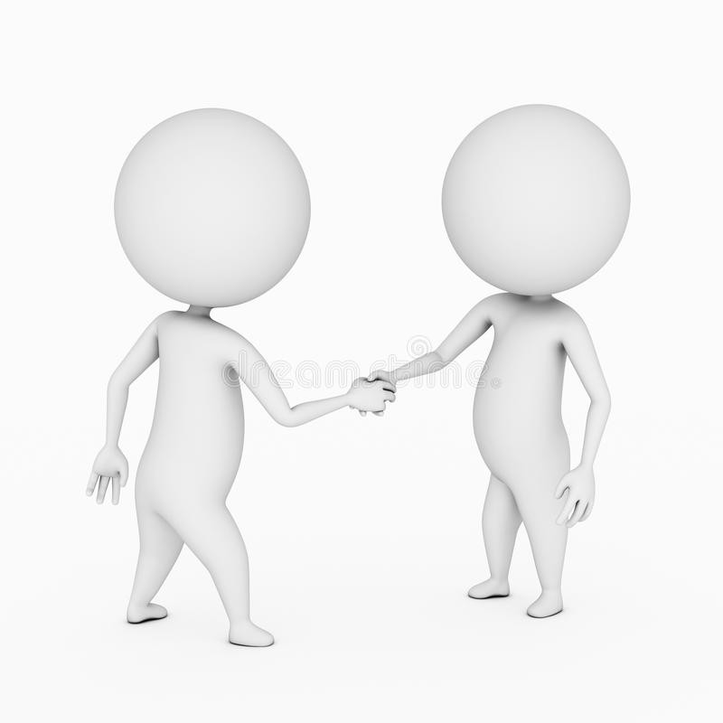 Shaking hands. A 3d rendered illustration of two small guys shaking hands royalty free illustration