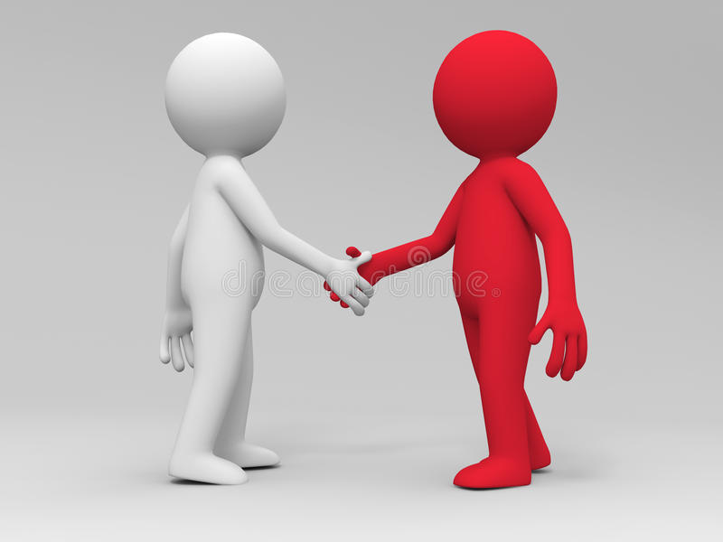 Shaking hands. Two 3d people are shaking hands vector illustration