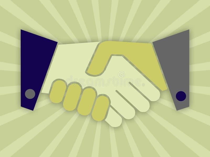 Shaking hands. Illustration against shining background vector illustration
