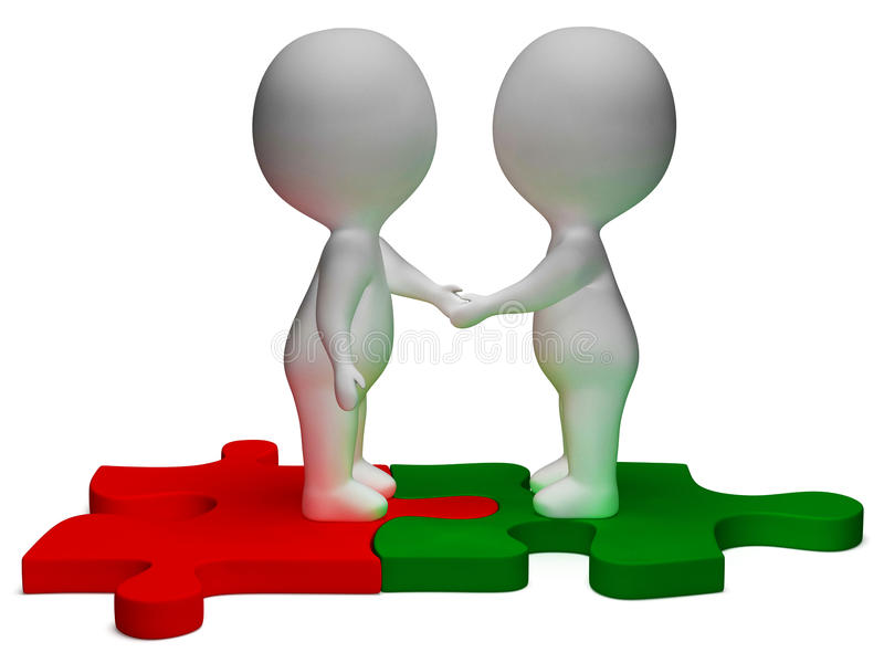 Shaking Hands 3d Characters Shows Partners And Friendship stock illustration