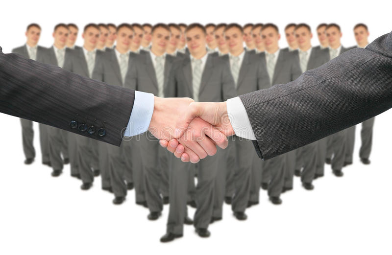 Shaking hands and big business group collage. Shaking hands and big business group on white collage stock photo