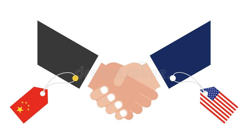 Shaking hands. With China flag tag and United states flag tag vector royalty free illustration