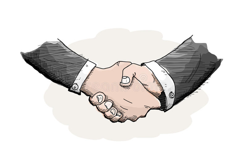 Shaking Hands. A hand drawn vector illustration of the act of shaking hands out of business agreement, isolated on a simple background (editable stock illustration