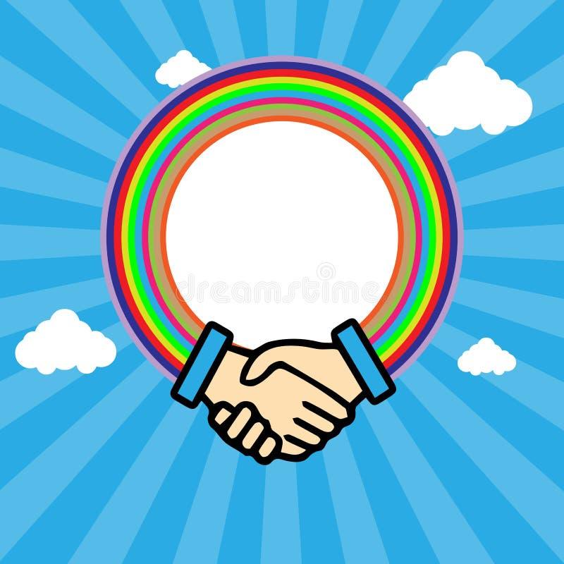 Shaking hands in outline stock illustration