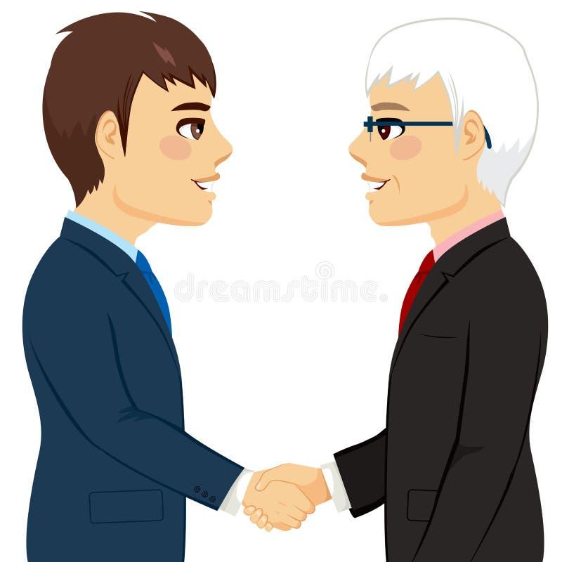 Shaking Hands Partnership. Portrait of two businessmen shaking hands senior young partnership concept vector illustration