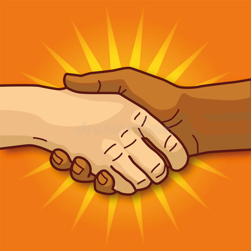 Shaking hands. And respect for everyone royalty free illustration