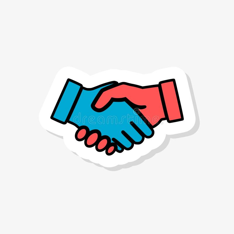 Shaking hands sticker icon isolated on white background. Shaking hands icon simple sign. Paper sticker vector illustration