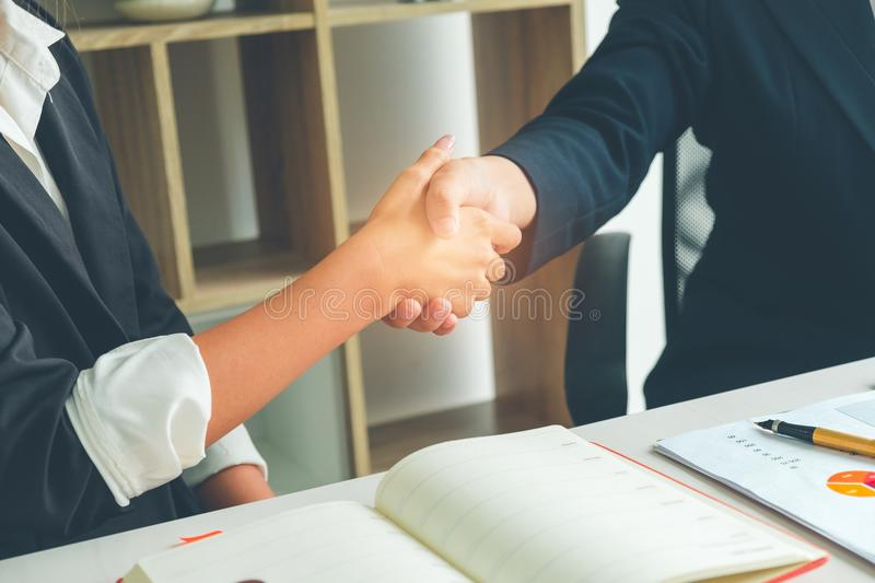 Shaking hands successful deal after great present time, Business stock images