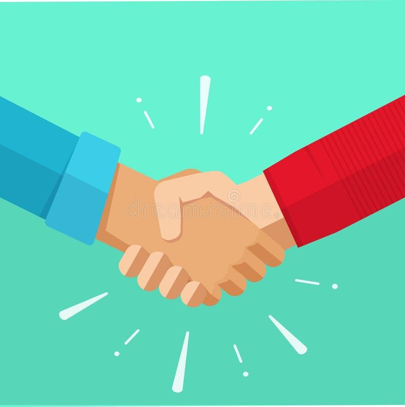 Shaking hands vector illustration, agreement deal handshake, partnership friendship congratulations. Shaking hands business vector illustration with abstract stock illustration