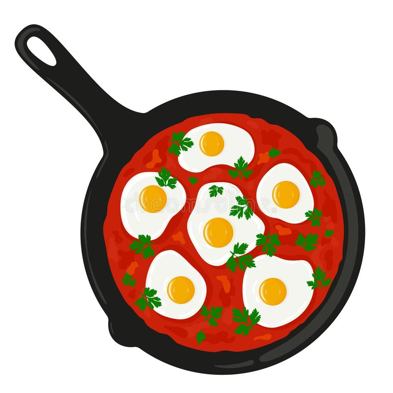Shakshouka shakshuka served in a frying pan, top view. Traditional middle eastern israeli, arab dish made of eggs and tomato sauce. Vector illustration vector illustration