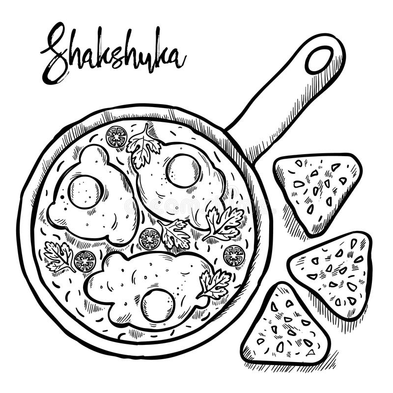 Shakshuka est aspiration israélienne de main de cuisine image stock