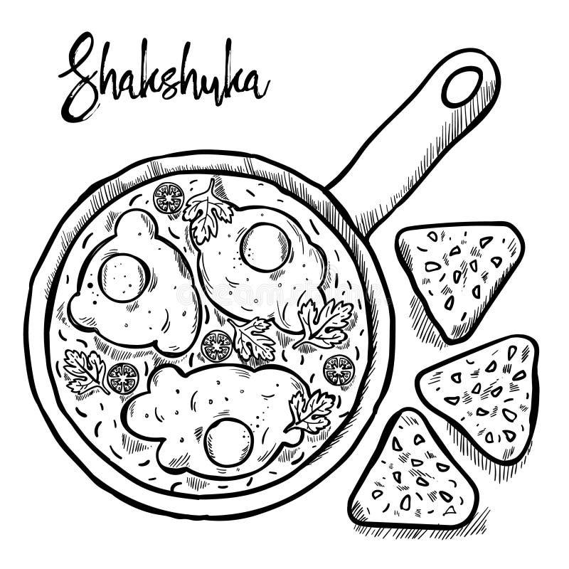 Shakshuka is israeli cuisine hand draw stock image