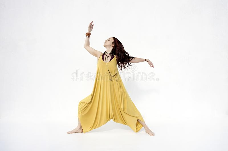 Shakti Yoga Woman White Background stock foto