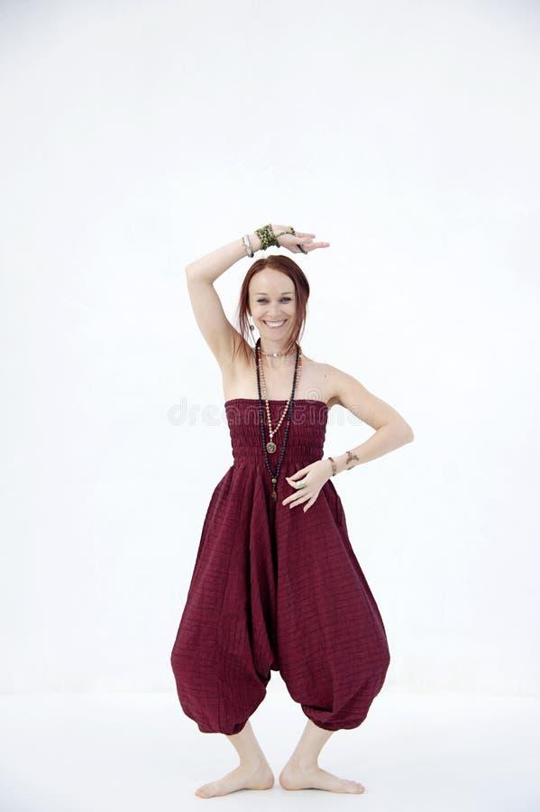 Shakti Yoga Woman White Background heureux photo libre de droits