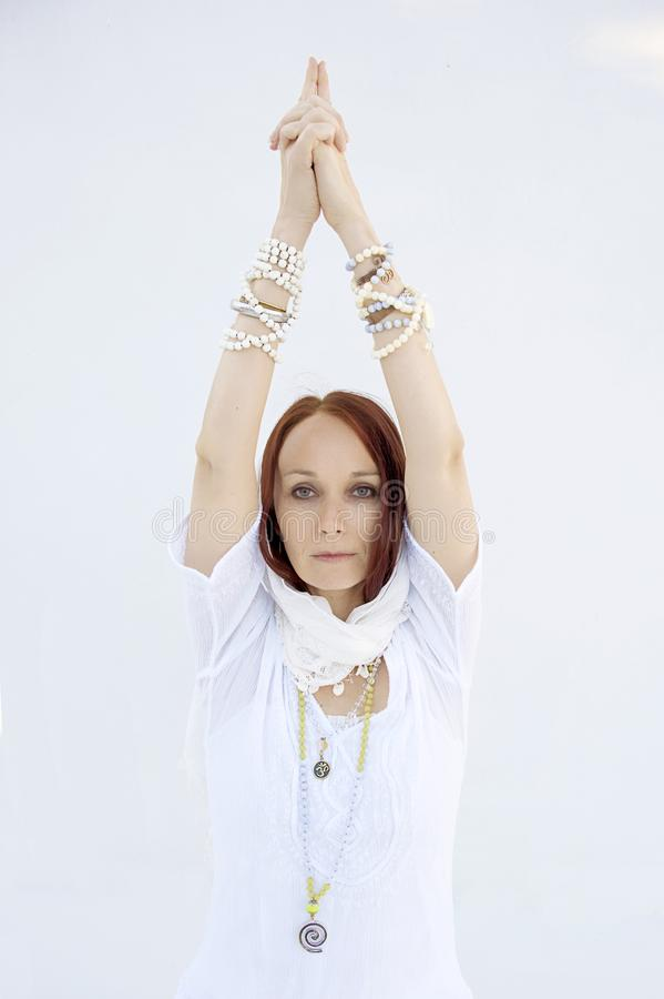 Shakti Yoga Woman White Background fotografía de archivo libre de regalías
