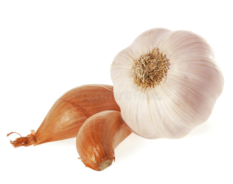 Shallot Onions and Garlic. royalty free stock images