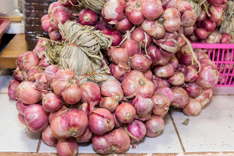 Shallot onions in a group on table,. Thailand stock images
