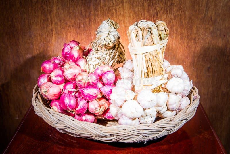Shallots and garlic stock photography