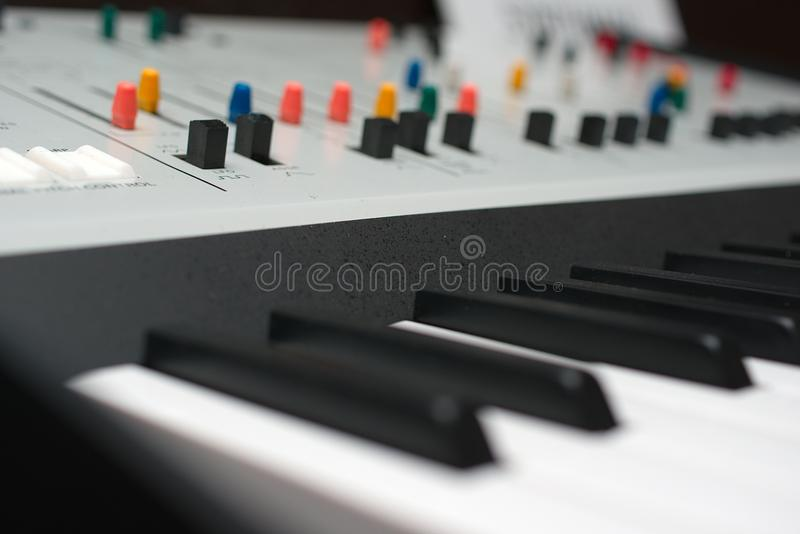 Synthesizer keys and controllers royalty free stock images