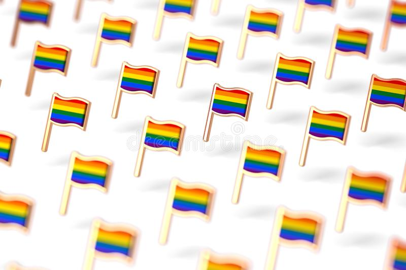 Shallow DOF focus on Rainbow LGBTQ flags group. Gay pride month symbol concept.  on white background. 3D rendering royalty free illustration