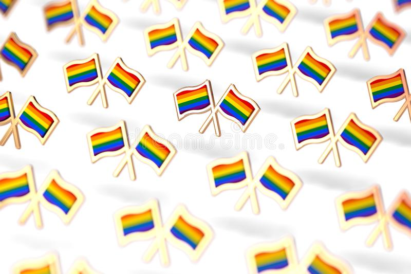 Shallow DOF focus on Rainbow LGBTQ flags group. Gay pride month symbol concept.  on white background. 3D rendering stock illustration
