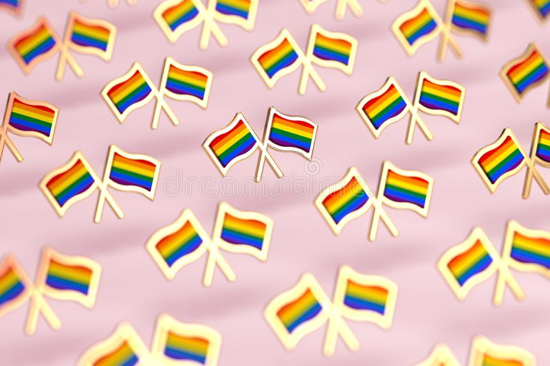 Shallow DOF focus on Rainbow LGBTQ flags pattern. Gay pride month symbol concept.  on pastel pink background. 3D rendering royalty free illustration