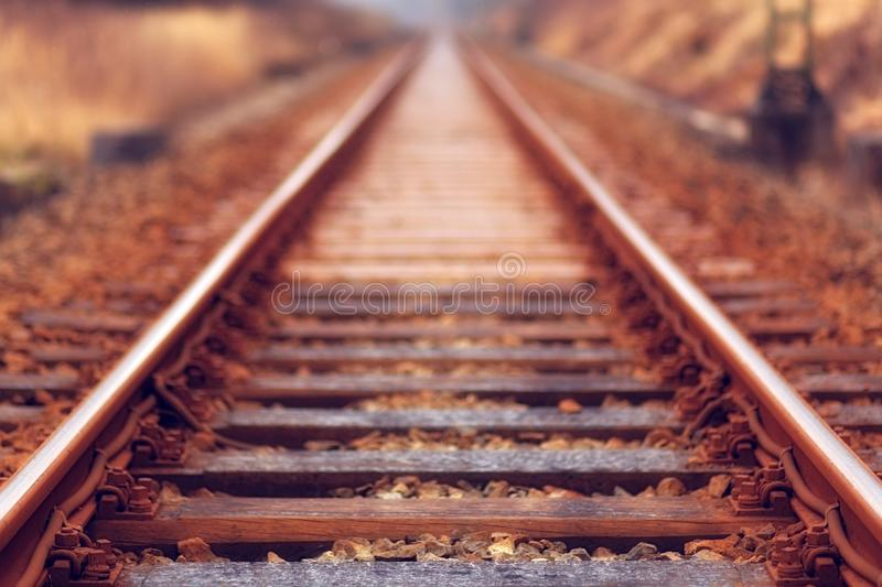 Shallow Focus Photo of Train Rail royalty free stock images