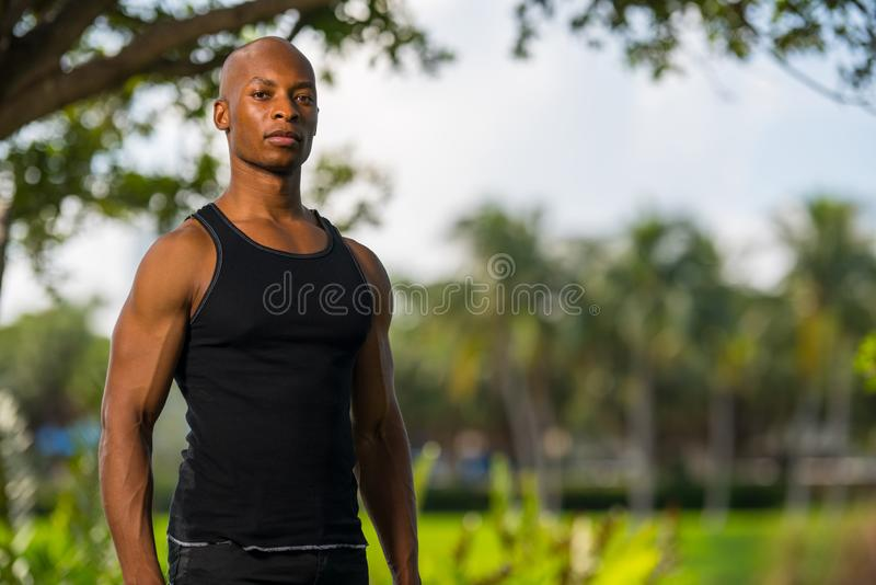 Shallow focus photo of a young black fitness model royalty free stock photography
