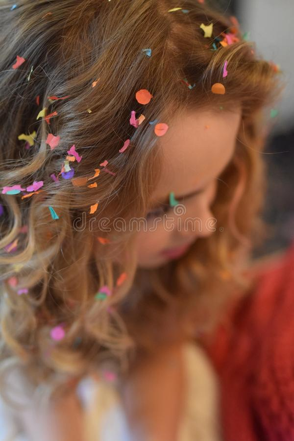 Shallow Focus Photography of Brown Haired Woman With Confetti on Hair stock photos