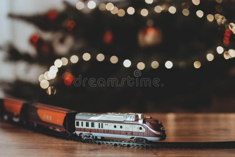 Shallow Focus Photography on Gray Train Plastic Toy stock image