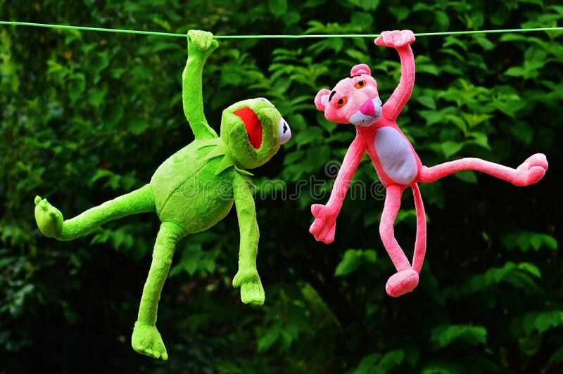 Shallow Focus Photography of Pink Panther and Kermit the Frog Plush Toy stock image