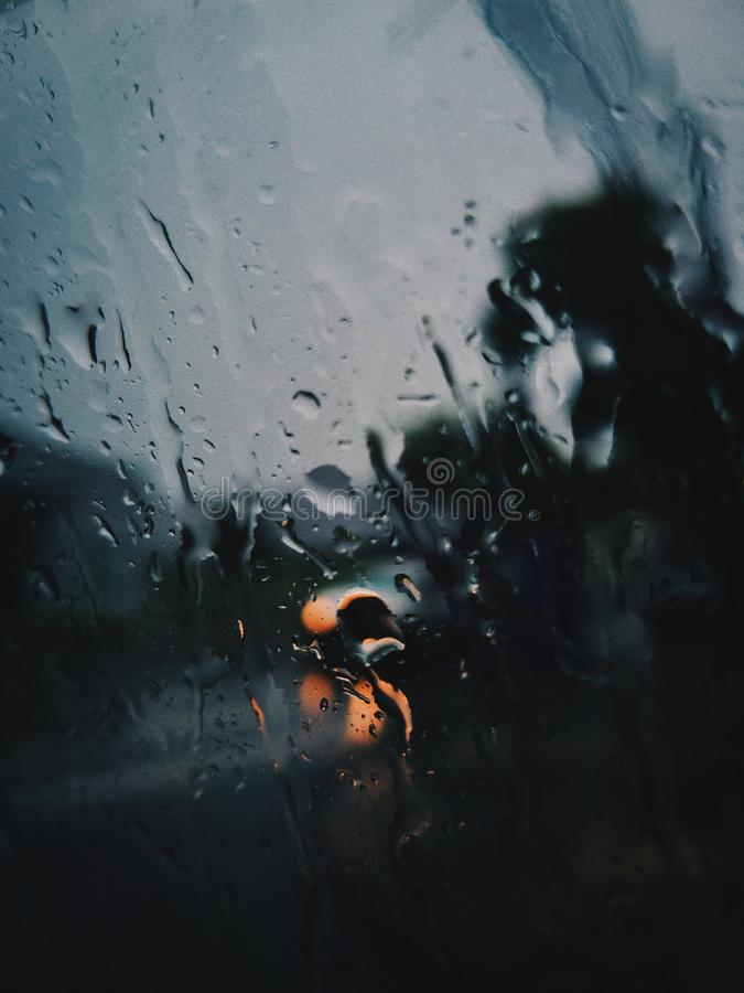 Shallow Focus Photography of Rain on the Window royalty free stock images