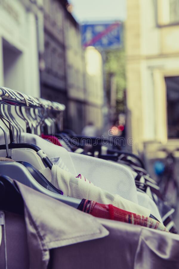 Shallow Focus Photography Of Shirts Hang On Silver Clothes Rack Under Sunny Sky Free Public Domain Cc0 Image