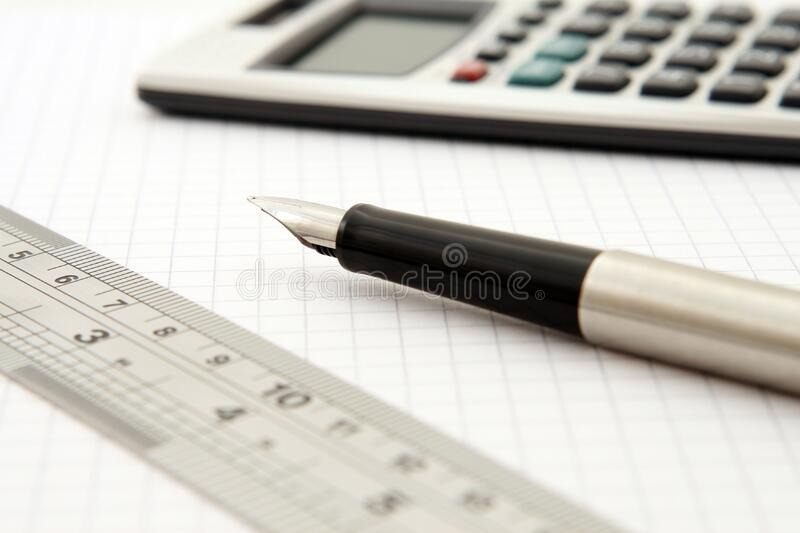 Shallow Focus Of Silver And Black Fountain Pen Beside Ruler And Scientific Calculator Free Public Domain Cc0 Image
