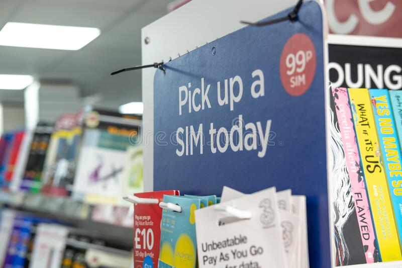 Shallow focus of smartphone SIM cards seen for sale in a well known book and stationary store. royalty free stock images