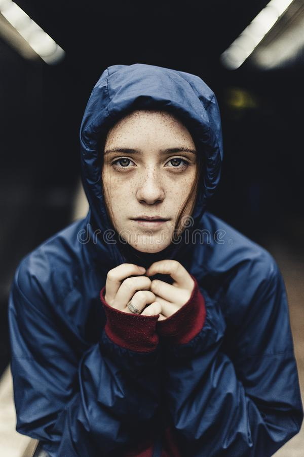 Shallow Focus Of Woman Wearing Teal Hoodie Free Public Domain Cc0 Image