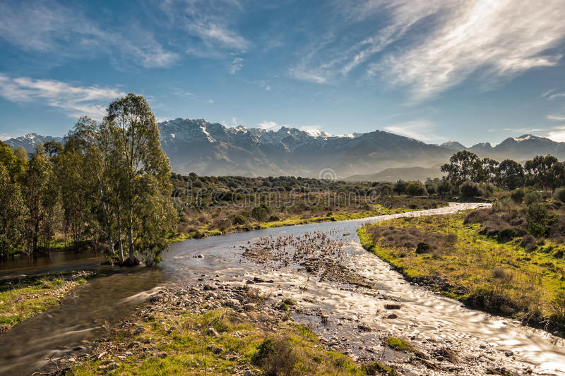Shallow stream in Corsica with snow capped mountains in distance. Shallow fast flowing stream near Calvi in the Balagne region of Corsica dividing into three royalty free stock photo