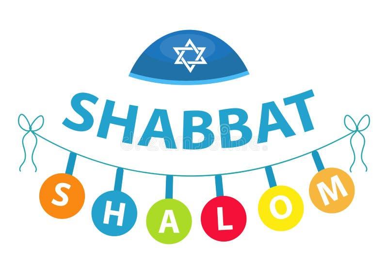 Shalom Shabbat, estilo liso Tradição judaica religiosa Isolado no fundo branco Ilustração do vetor ilustração do vetor
