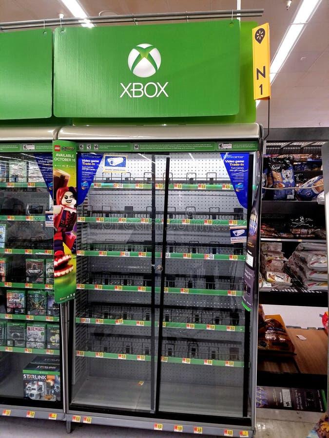 Shalves de los videojuegos de Xbox foto de archivo